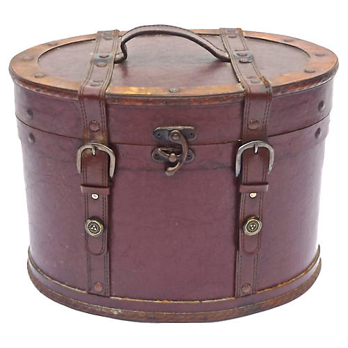 Leather & Brass Hat Box