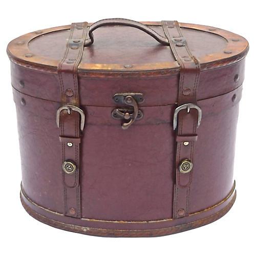 Leather & Brass Hat Box