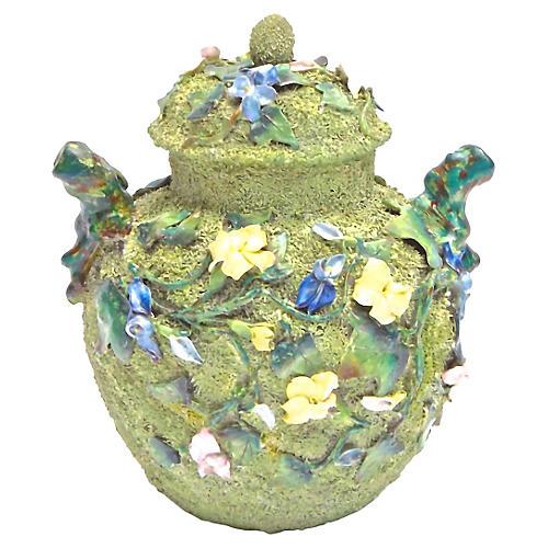 Porcelain Mossware Floral Majolica Jar