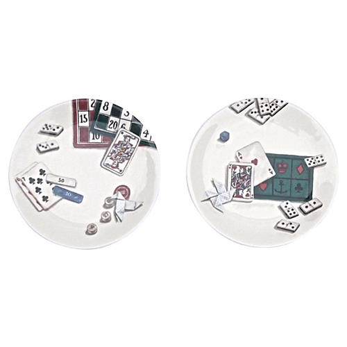 Gien French Gaming Theme Plate, S/2