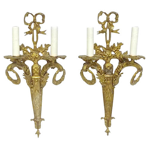 Gilt Bronze Ribbon & Wreath Sconces, S/2