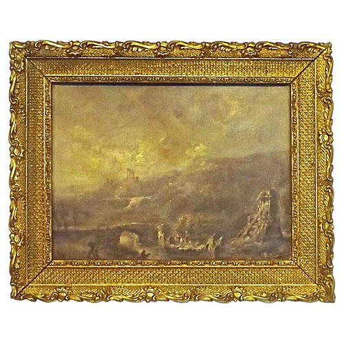 Antique Ruins Landsccape Oil Painting