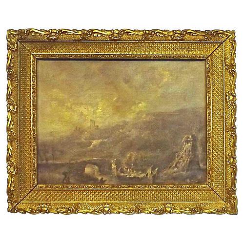 Antique Ruins Landsccape Oil Painting