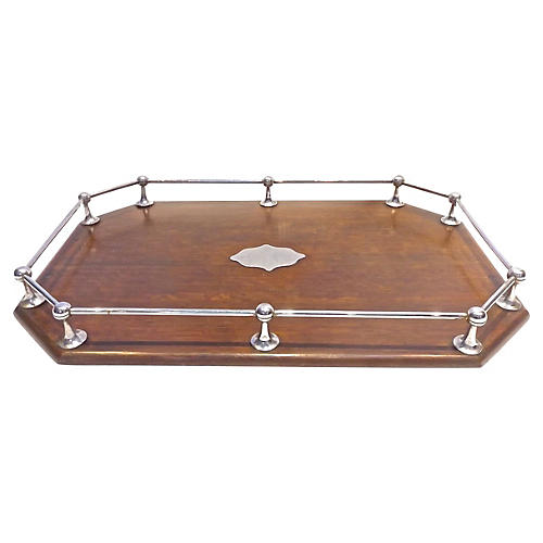 Wood Serving Tray w/ Rail