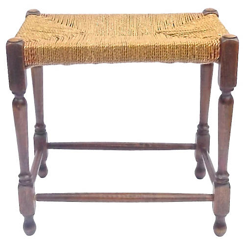Hemp Rope & Turned Wood Footstool