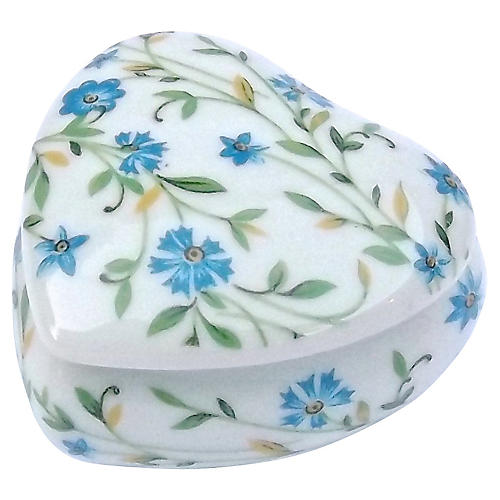 Porcelain Floral Heart Limoges Box