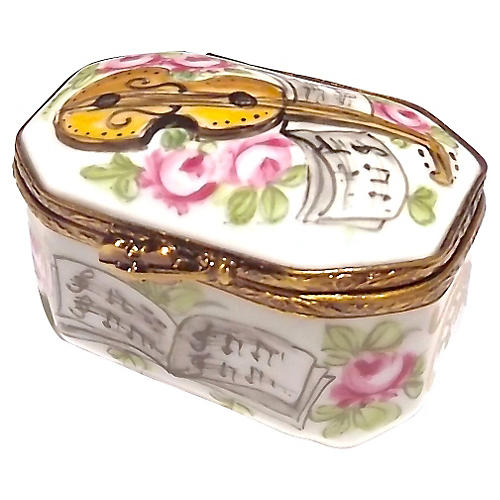 Porcelain Violin & Music Limoges Box