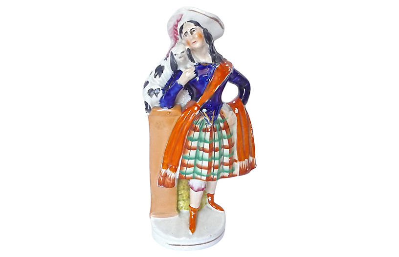 English Staffordshire Woman & Dog Figure