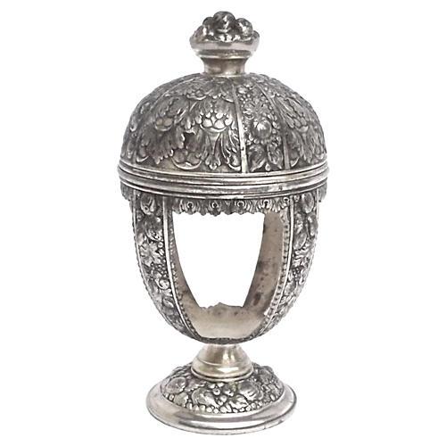 Silver Floral & Fruit Display Jar
