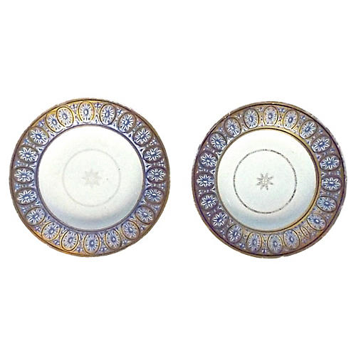 18th-C. Star & Medallion Bowls, Pair