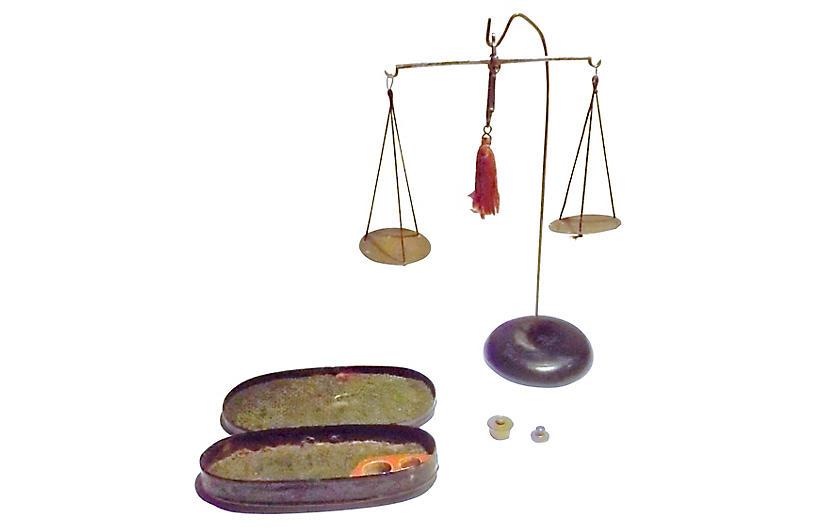 Antique Portable Scale Set, 4 Pcs