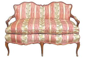 Antique Silk-Upholstered Settee*