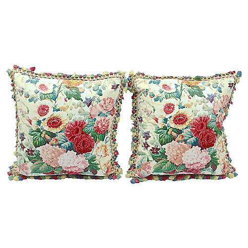 Floral & Fringe Lee Jofa Pillows, Pair