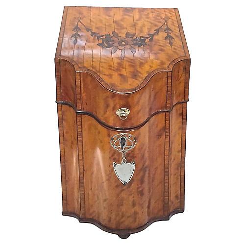 Antique English Burl-Wood Knife Box