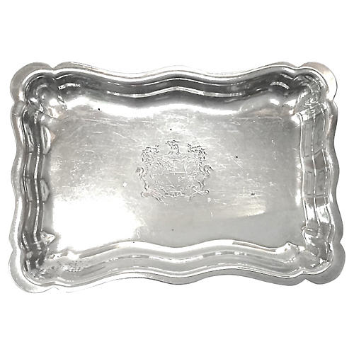 Antique Silverplated Crest Tray