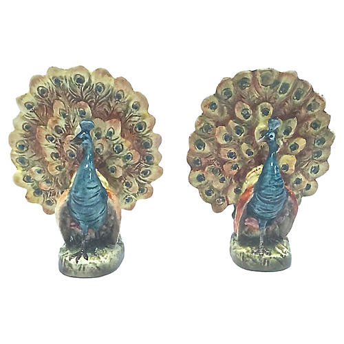 Ceramic Peacock Pocket Vases, Pair