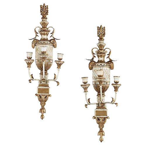 Antique Parcel Gilt Sconces, S/2