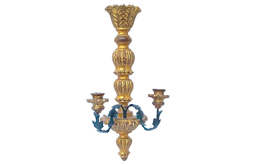 Giltwood Acanthus Candle Sconce