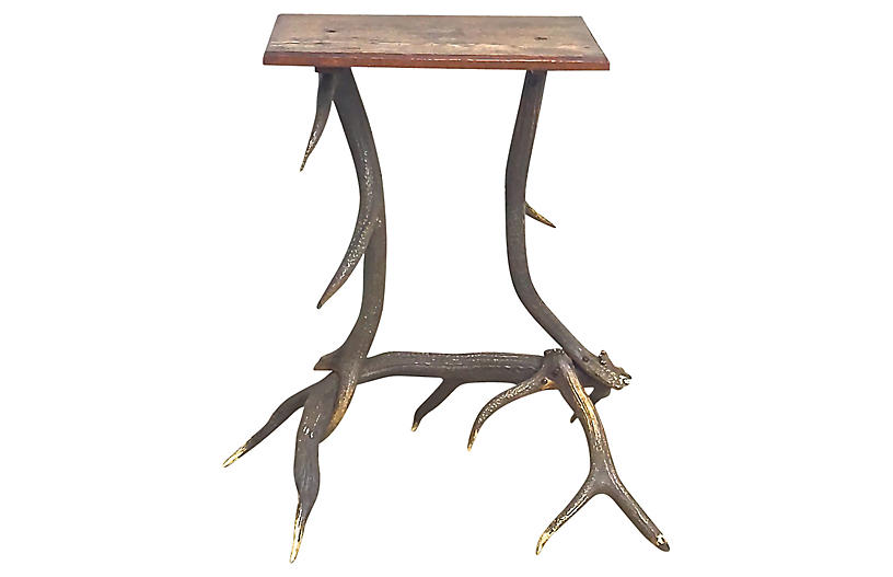 Antique Antler Side Table