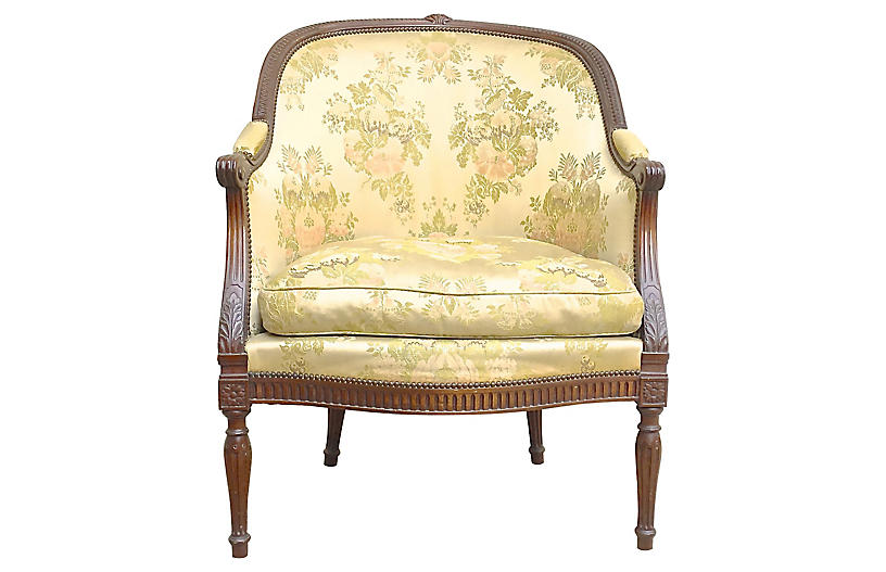 Antique French Damask Fauteuil
