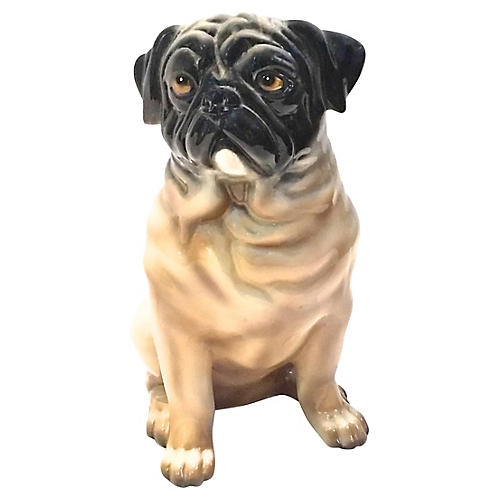 Large Pug Ceramic Figure