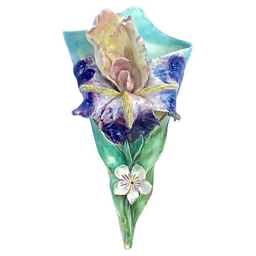 Majolica Bearded Iris Wall Pocket
