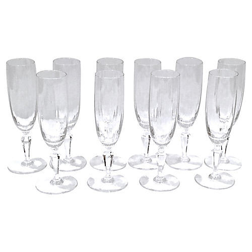 Baccarat Crystal Champagne Flutes, S/10