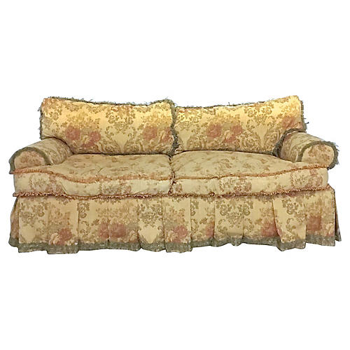 English Country Floral Silk Sofa