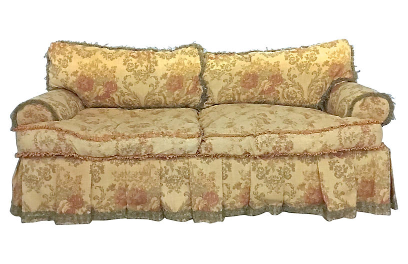 Swell English Country Floral Silk Sofa Gmtry Best Dining Table And Chair Ideas Images Gmtryco