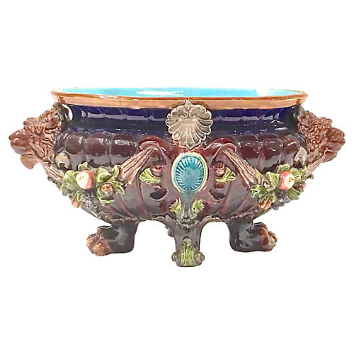 Majolica Fruit & Lion Cachepot