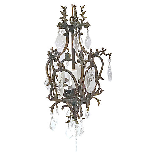 Antique Iron & Crystal Chandelier