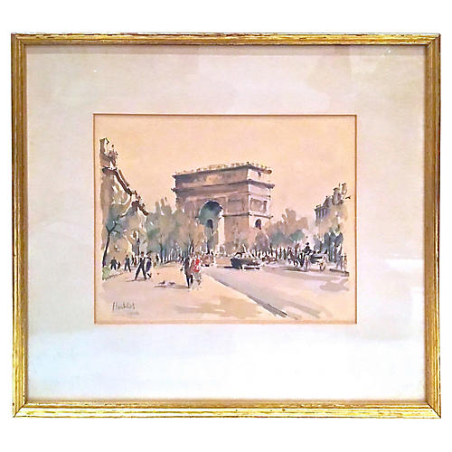 Arc de Triomphe Watercolor Engraving