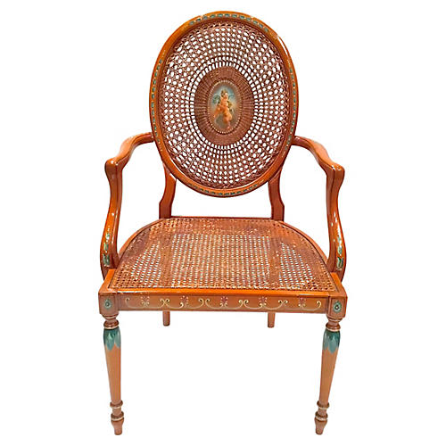 Cherub Medallion Hand-Painted Armchair