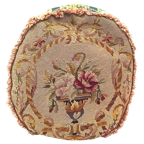 Round Floral Needlepoint & Silk Pillow