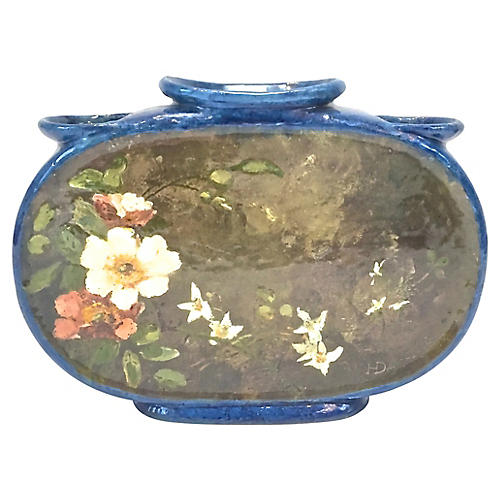 French Hand-Painted Floral Majolica Urn