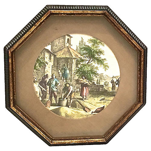 Framed French Countryside Engraving