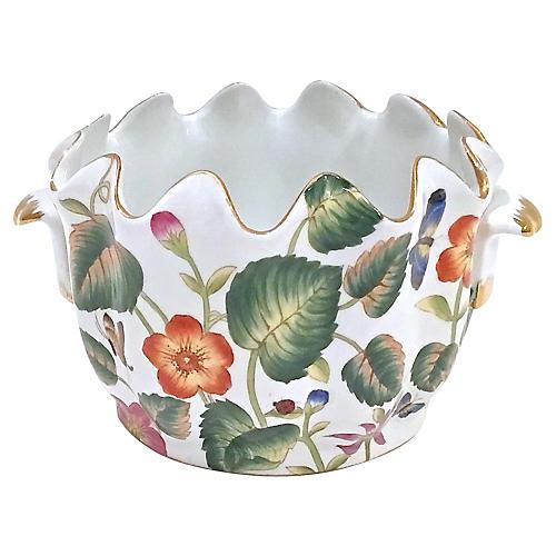Porcelain Floral & Leaf Handled Cachepot