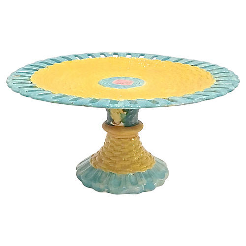 Pierced Majolica Basket Weave Cake Dish