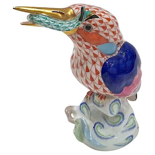 Herend Porcelain Bird & Fish Figurine