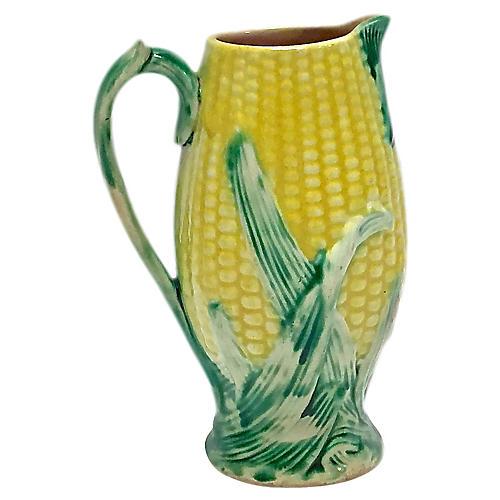 Antique English Majolica Corn Pitcher