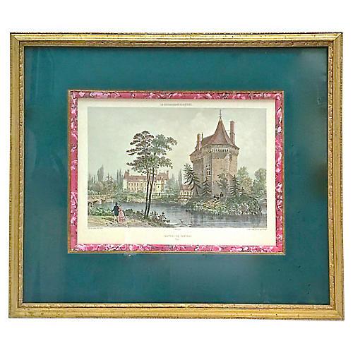 Antique Normandy Chateau Engraving