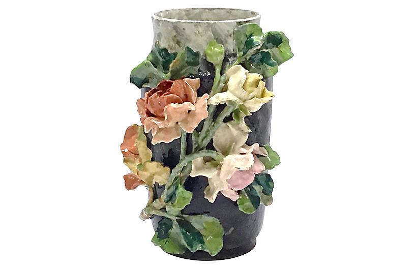 French Barbotine Floral Majolica Vase