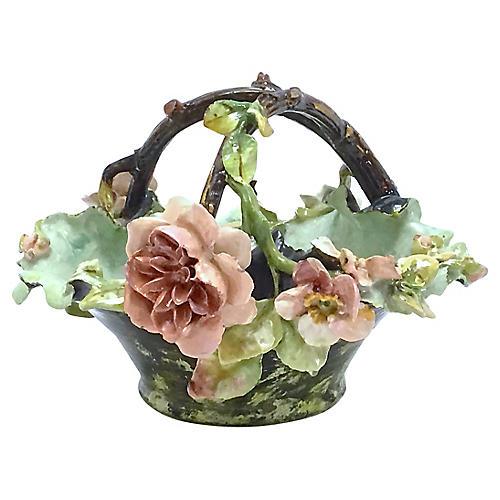 Antique French Barbotine Majolica Basket