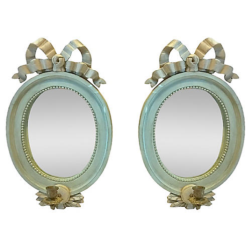 Carved Ribbon Mirrored Sconces, PR