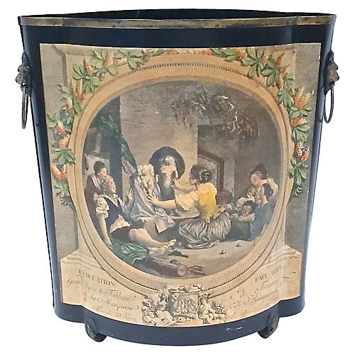 French Dog Engraving Wastebasket
