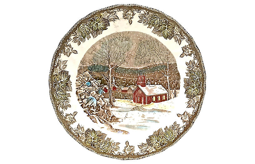 Snowy Village Collectible Plate