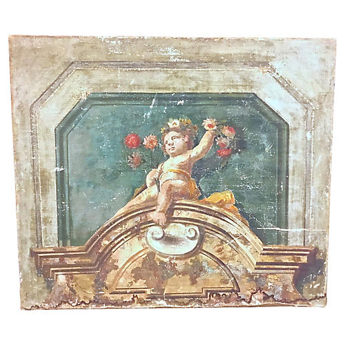 Antique Italian Fresco Style Painting