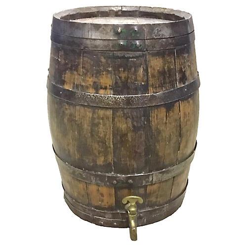 Large Antique Wine Cask with Spigot