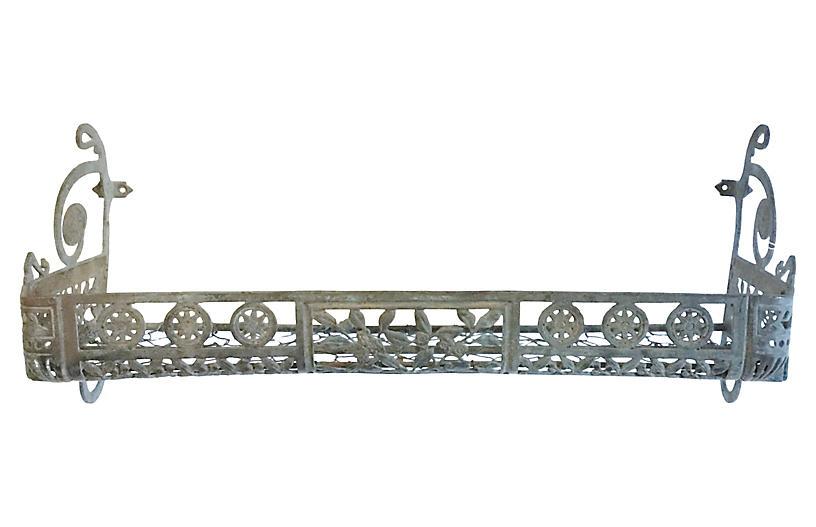 Wrought Iron, Wire, & Leaf Wall Shelf