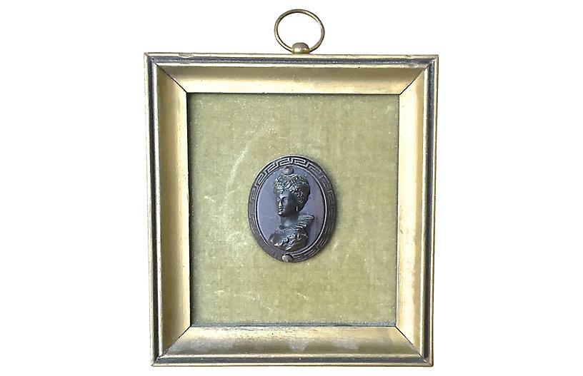 Ant Framed Bronze Intaglio Portrait